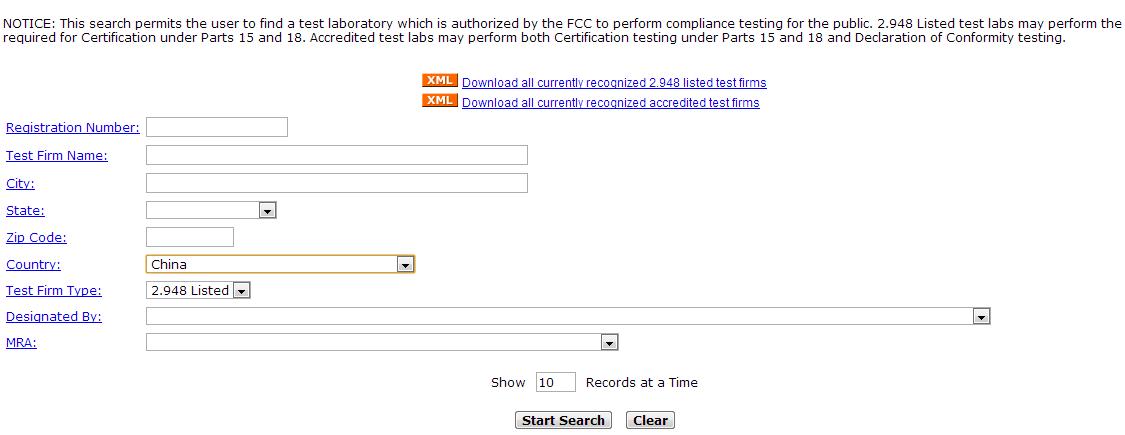 FCC认证机构查询网站